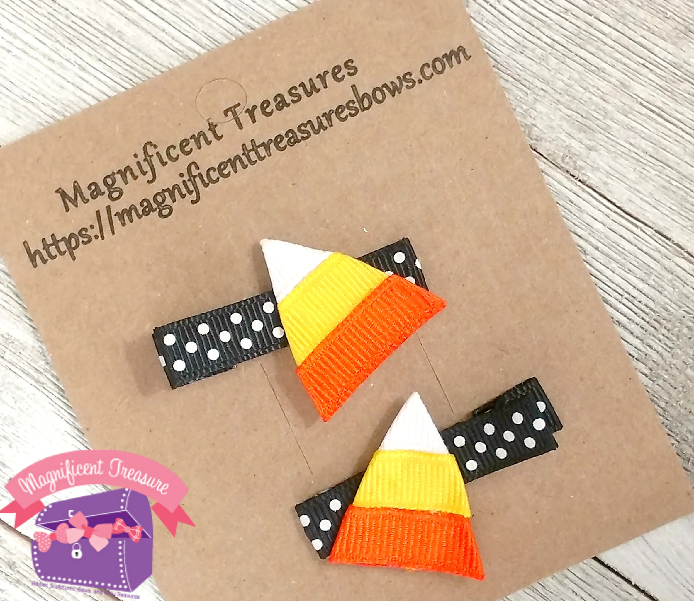 Candy Corn Ribbon Sculpture Hair Clip Set of 2 Clips