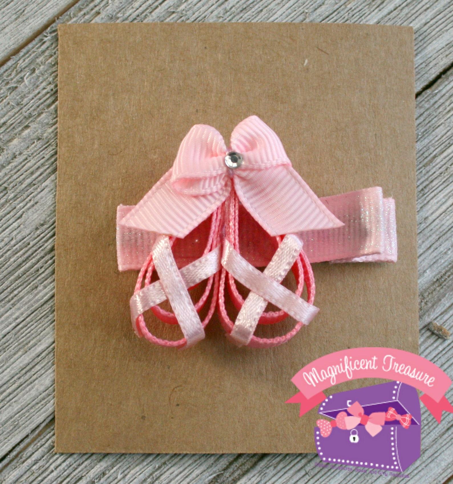 pink ballet shoes hair bow - ballet shoes hair clip - ribbon sculpture - dance class barrette - dancer hair bow - toddler clippi