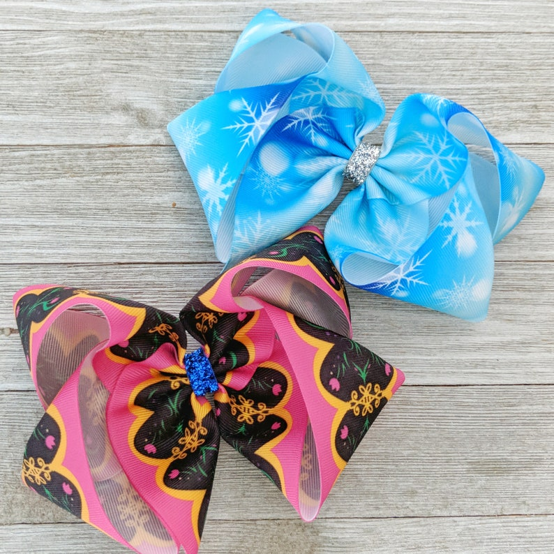 Extra Large Jo Jo Bow Disney Princess Bow Southern Bow Frozen 6 Ribbon Hair Bow Anna and Elsa Ribbon Bows Jumbo Bow