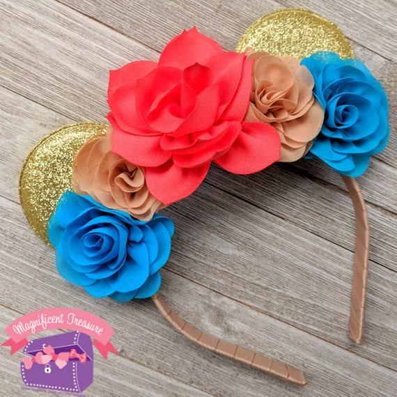 Moana inspiré Minnie Mouse oreilles - voyage Disney - Princesse polynésienne Mickey Mouse oreilles - fille souris oreilles bandeau - Headband Minnie enfant