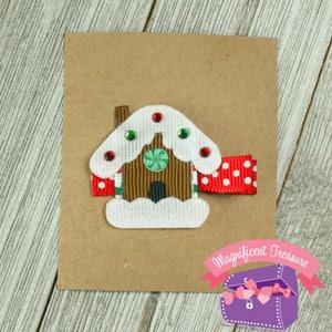 Christmas Pin Ribbon Sculpture Christmas Hair Bow Girl Holiday Barrette Gingerbread House Pin Gingerbread House Hair Clip