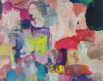"Original Abstract, ""Loveworn"" , 28 x 22, blue, pink, yellow, aqua, orange, black, white, gray, acrylic, violet, on canvas, Amy Barone"