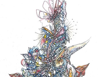 Metamorphosis, original abstract, watercolor, 8 x 10, Amy Barone, butterfly, flower, fin, organic, change, growth, blue, red, gold,metallic