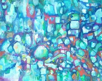 Large abstract painting, original art, Amy Barone, 36 x 24 , green, blue, orange, violet ,aqua