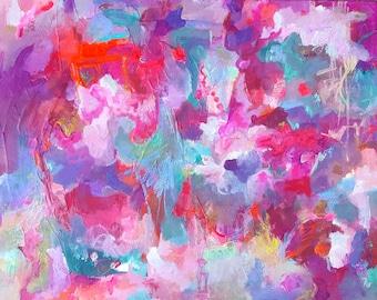 "Original Abstract, ""Emotional"" , 18 x 24 x1.5, red, violet, yellow, aqua, orange, pink, acrylic on canvas, Amy Barone"