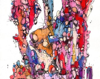 Original abstract, acrylic,watercolor, ink, Amy Barone, gems,clouds,mountains,rocks,landscape,blue,red,gold,purple