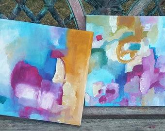 "Original Abstract, ""Ruby Blue"", 2 piece, acrylic on canvas, original art, 12 x 12, ready to hang, blue, yellow,fuschia, pink, aqua."