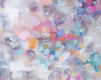 """Original Abstract, Acrylic on Canvas, """"Lunar Petals"""", Gray, Pink, White, Blue, Orange, Lavender, Coral, Turquoise"""