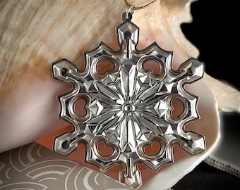 Gorham Sterling Silver Snowflake Christmas Ornament 1979 Limited Annual Edition with Box and Protective Pouch No Monogram