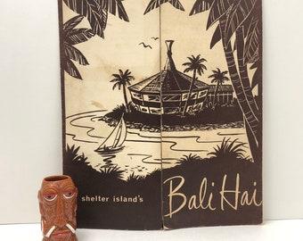 Bali Hai Shelter Island 1950s Dinner / Drink Menu and Tiki Farm Mr. Bali Hai Shot Glass Vintage Tiki San Diego