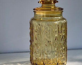 Amber Glass Canister Vintage Sun Gold Big Show Off Jar Federal Glass Co  1972