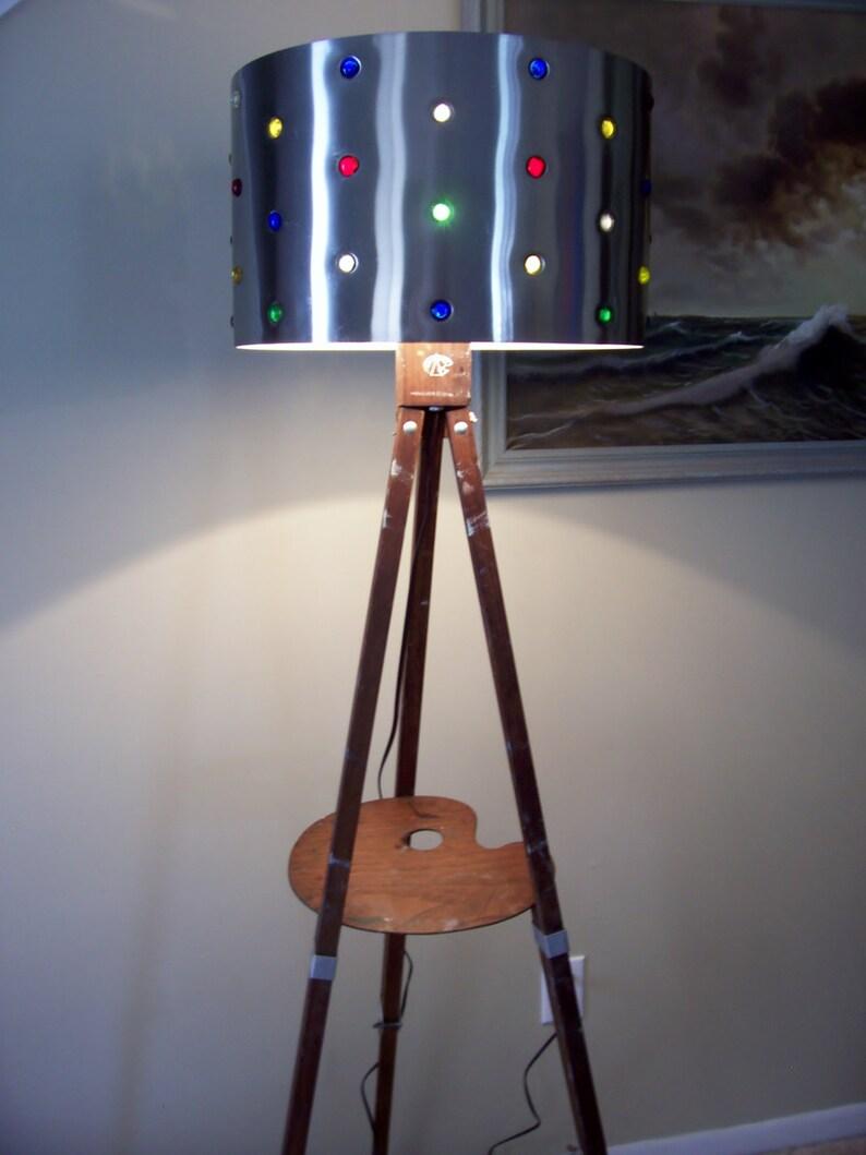 Artist Floor Lamp Assemblage Antique Anco Bilt Wood Easel Vintage Curved Artist Palette Mid Century Metal Shade Glass Cabochons OOAK