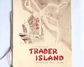 Rare Trader Island Dinner and Drink Menu Fred Button's Vintage Tiki Corona Del Mar