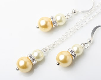Yellow Jewelry Set, Yellow Bridesmaid Earrings Necklace set, Yellow wedding jewelry, bridesmaid gift,  yellow Pearl and Strass jewelry set