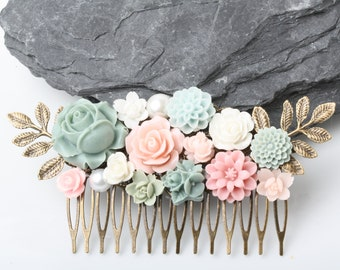Sage and Pink Wedding Hair Comb, Pink and green Bridal Hair Comb, Vintage Style hair comb, Garden Wegging, Flower Collage Hair Comb, gift