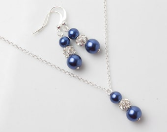 Navy Bridesmaid jewelry set, Navy blue earrings and necklace set, Navy wedding jewelry, bridesmaid gift, jewelry set, navy pearl jewelry