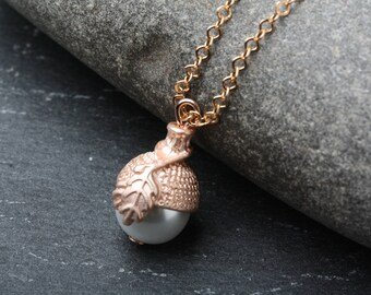 Acorn Necklace, Rose Gold Acorne Necklace, Rose Gold Necklace, Bridesmaid Gift, Acorn Pendant, Acorn Charm Necklace, Woodland Jewelry