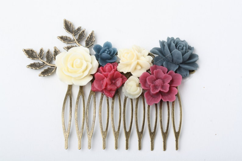 flower hairpiece blue red Burgundy and Navy Wedding hair accessories Navy and burgundy Hair Comb Maid of Honor Gift Bridal Hair Comb