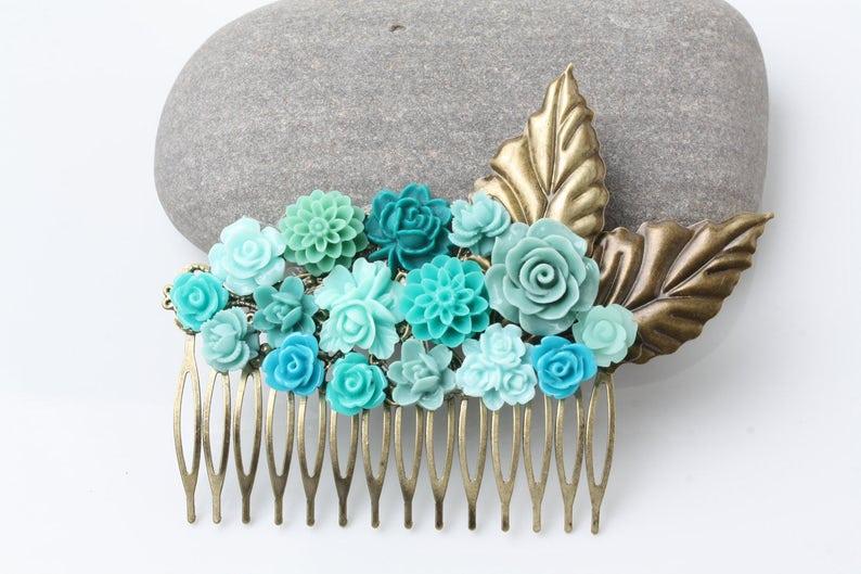 rustic wedding Bridal Hair Comb Maid of Honor Gift teal hair comb garden wedding teal wedding hair accessories teal Hair Accessories
