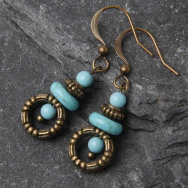 Small Blue Earrings: Blue Turquoise Earrings Small Turquoise Earrings Dainty