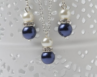 Bridesmaid jewelry set, Navy blue and ivory earrings and necklace, Navy wedding jewelry, bridesmaid gift, jewelry set, navy blue and ivory