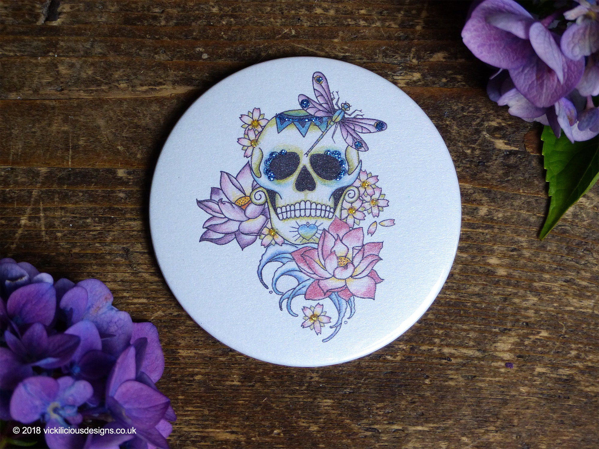 Lotus Flower Sugar Skull Tattoo Day Of The Dead Handmade Etsy