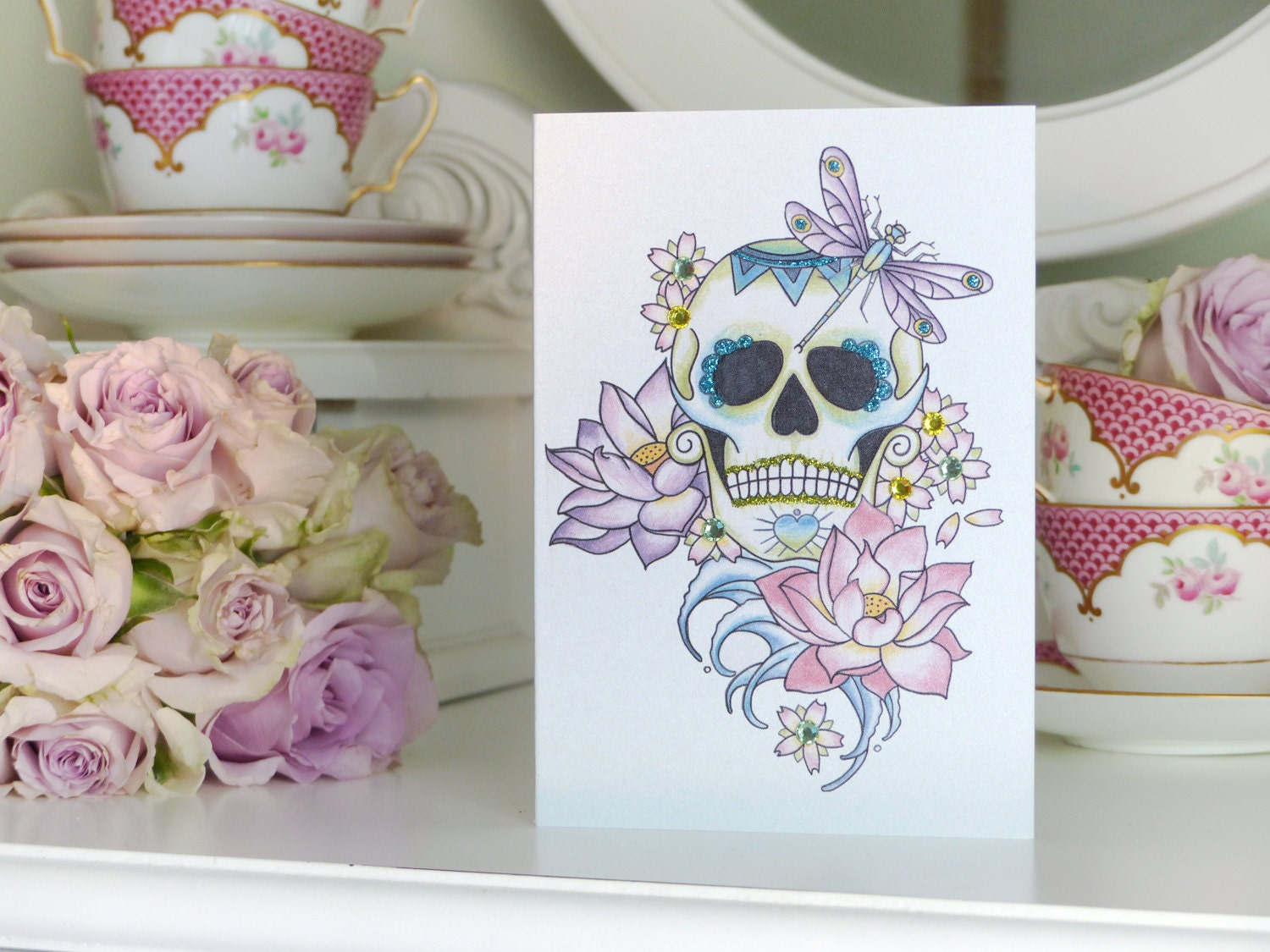 Sugar skull lotus flower and dragonfly day of the dead tattoo etsy zoom izmirmasajfo