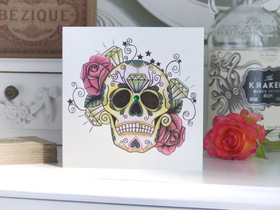 Tattoo Style Emerald Und Rose Sugar Skull Luxus Handgemacht Etsy