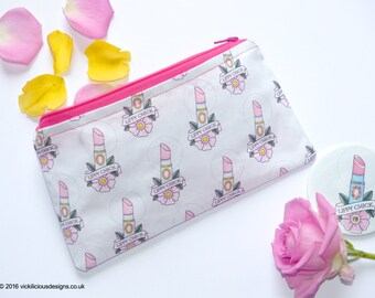 LIPPY CHICK lipstick tattoo handmade makeup bag or pencil case
