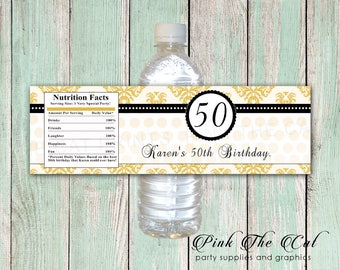 50th Birthday Water Bottle Labels Party Favors For Adults Adult Gold Black