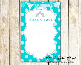 30 printed thank you notes with envelopes elephant thank you cards twin boys thank you card twin baby shower thank you notes teal blue