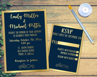 navy blue gold wedding invitation glitter navy blue invitation wedding invitation card wedding invite printable with rsvp card