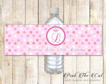 Princess Bottle Labels Princess Baby Shower Water Bottle Etsy