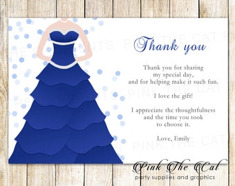 Blue Fancy Dress Bridal Shower Thank You Card Quinceanera Note Sweet 16 Printable Birthday