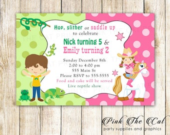 Reptile Cowgirl Birthday Invitation