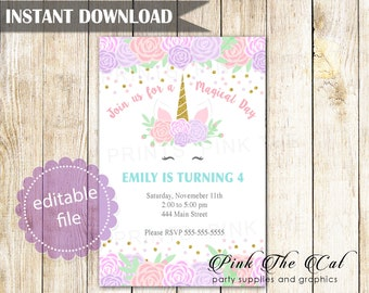 ON SALE Printable Unicorn Invitation Face Birthday Girl Party Invites