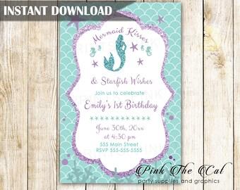 ON SALE Printable Mermaid Invitation Purple Teal Glitter Mermaid Birthday  Invitation 9e6c9dce6