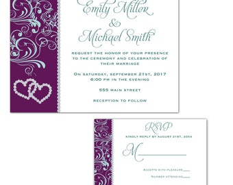 purple wedding invitation etsy