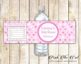 Pink Blue Mint Green Polka Dots Water Bottle Labels For Girl | Etsy