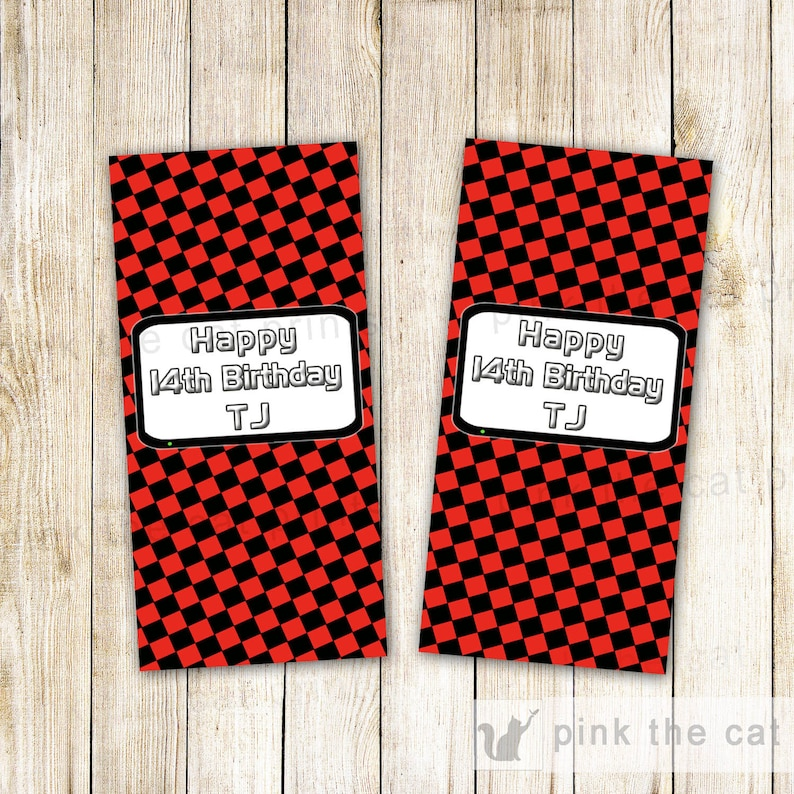 Kids Birthday Party Favor Mini Bar Wrappers Red Black Checkered Printable Personalized Video Game Candy Label