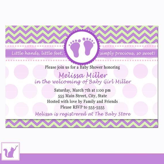 Purple Baby Shower Invitation Card Baby Feet Chevron Zigzag Etsy