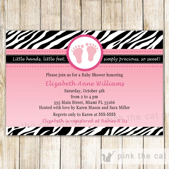 Baby shower invitation card pink feet invitation zebra baby etsy image 0 filmwisefo