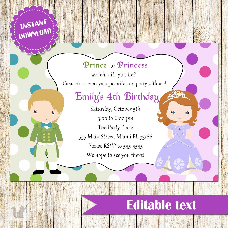 Prince and Princess Invitation Green Purple Printable Kids | Etsy
