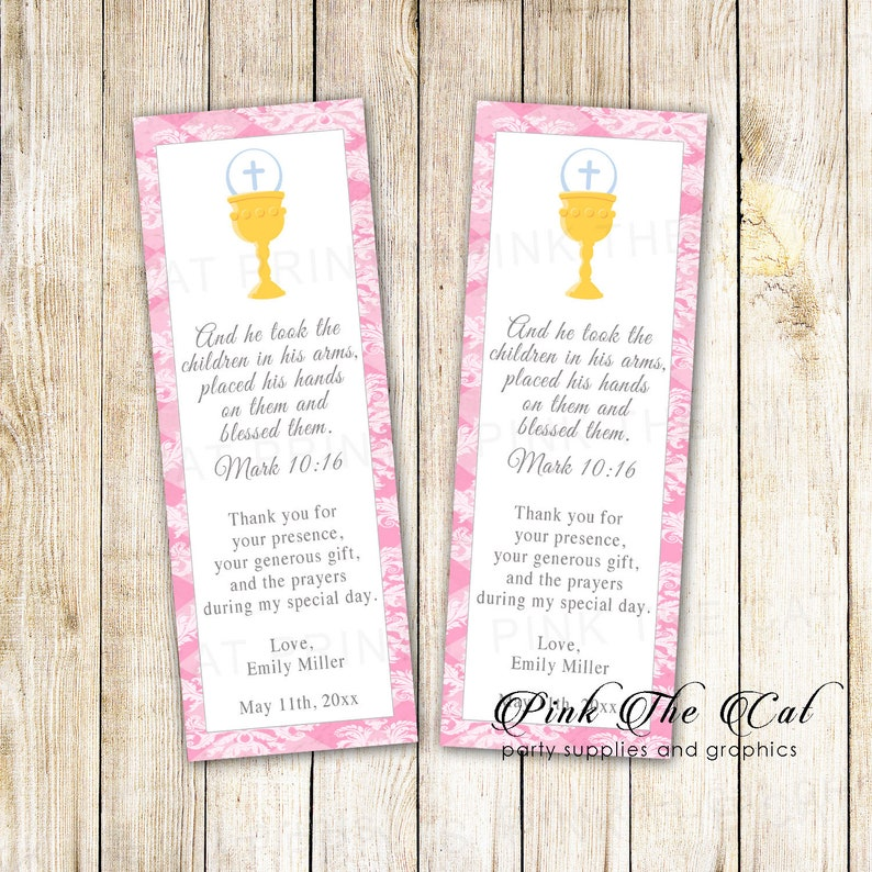First Communion Bookmark Template Printable Communion Bookmarks Girl First Communion Favors Chalice Bookmarks for Girl 1st Communion Pink