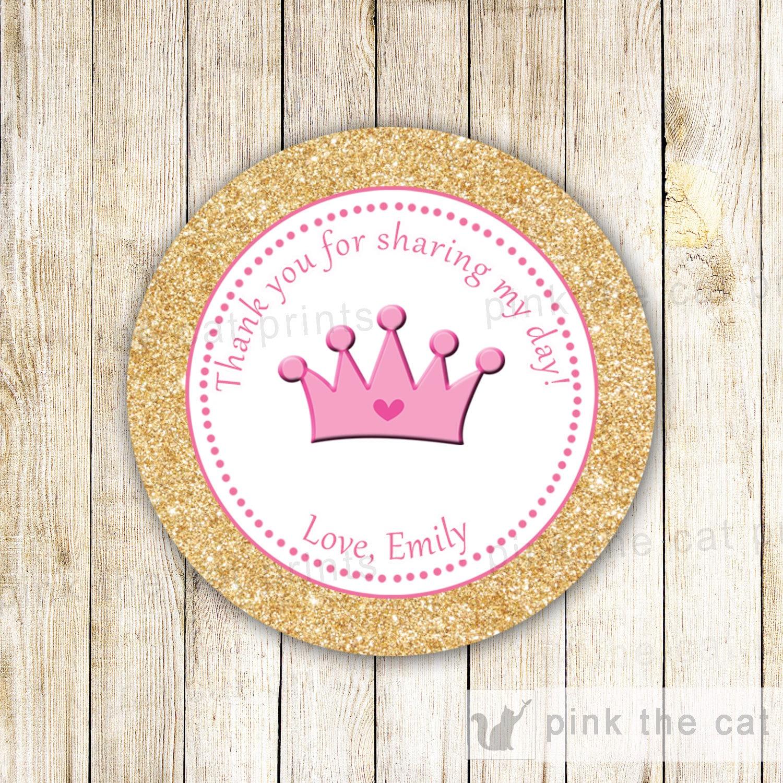 Glitter Princesa Etiquetas O Etiquetas De Regalo Favor