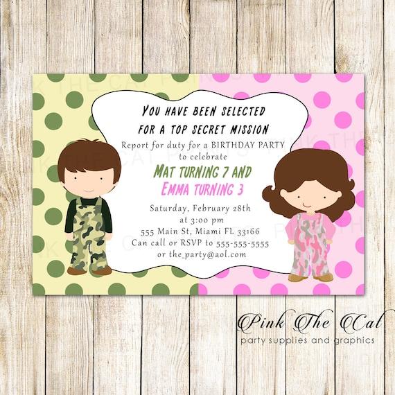 Twins Invitation Twins Girl Boy Invitation Brother Sister Invitations Kids Birthday Invitation Camouflage Birthday Party Camo Invitation