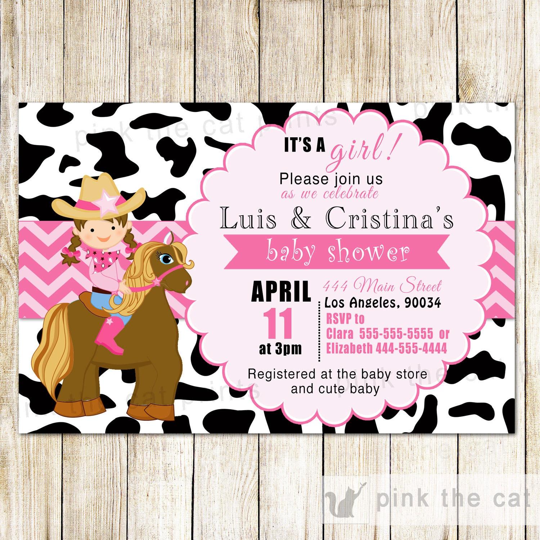 Piel de vaca de invitación vaquera y caballo vaquera bebé   Etsy