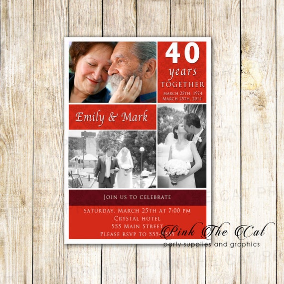 Ruby Wedding Invitation 40th Wedding Anniversary Invitation With Photos 40th Anniversary Photo Cards Personalized Invitation Template