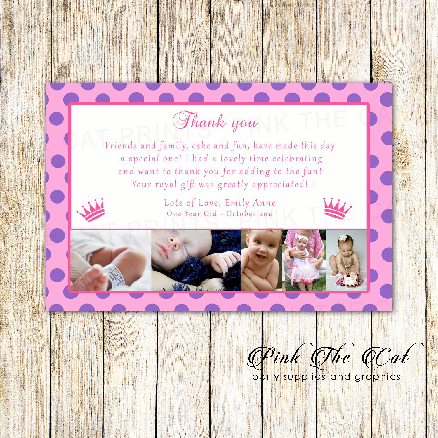 Pricess birthday thank you card girl 1st birthday thank you