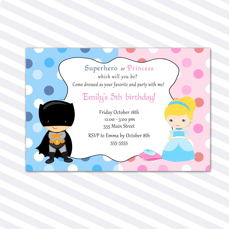 Princess Birthday Invitation Card Superhero Siblings Girl | Etsy